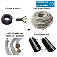 Installationspaket 6/12 Kältemittelleitungen gebördelt + Dämpfungssockel