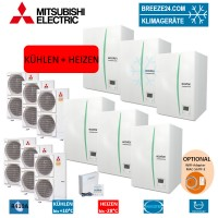 Set Kaskaden 6 x ERSC-MEC Hydrobox + 6 x Wärmepumpe PUHZ-SHW140YHA Kühlen und Heizen