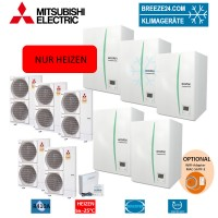 Set Kaskaden 5 x EHSE-MEC Hydrobox + 5 x Wärmepumpe PUHZ-SHW230YKA nur Heizen