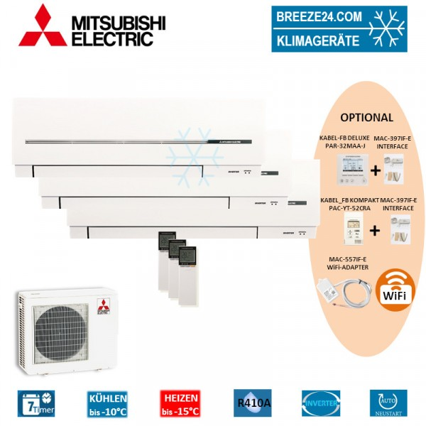 Set 3 x MSZ-SF25VE Kompakt Wandgeräte + MXZ-3E54VA