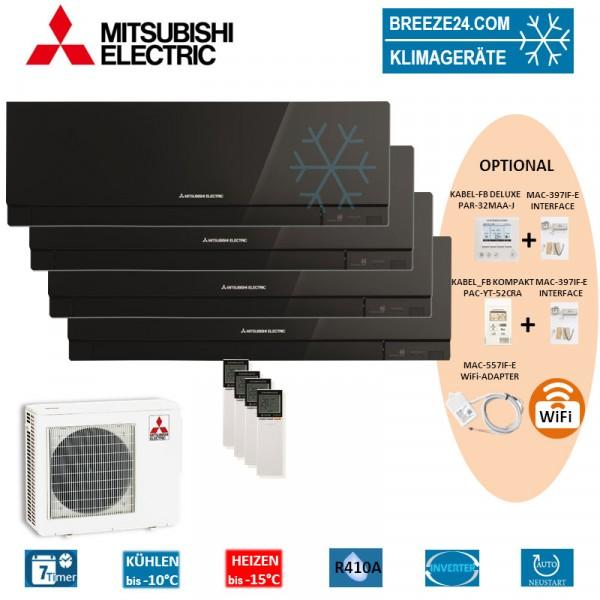 Set 4 x MSZ-EF22VE3 B Premium Wandgeräte + MXZ-4E72VA
