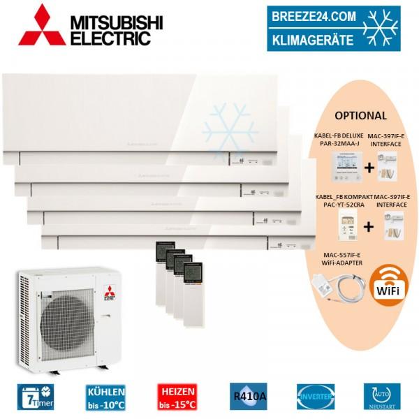 Set 4 x MSZ-EF25VE3 W Premium Wandgeräte + MXZ-5E102VA