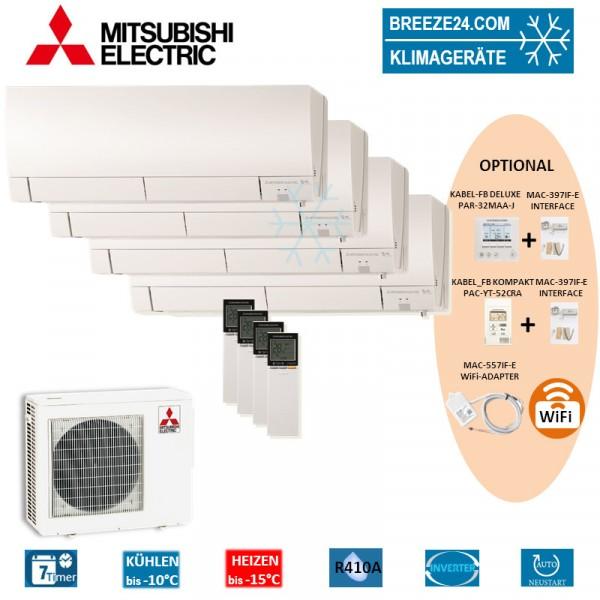 Set 4 x MSZ-FH25VE Deluxe Wandgeräte + MXZ-4E72VA