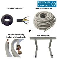 Installationspaket 6/10 Kältemittelleitungen gebördelt + Wandausleger
